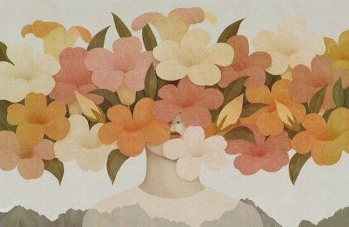 Donna con fiori sul viso