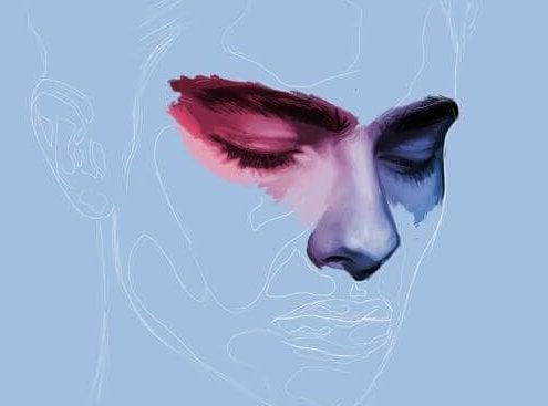 Volto maschile con sguardo in basso per la depressione