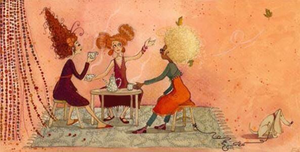 Amiche che bevono il tè