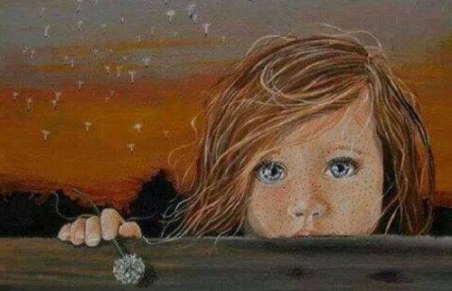 Bambina con gli occhi tristi