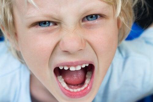 Bambino arrabbiato che grida