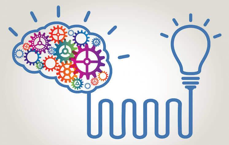 Cervello collegato a una lampadina