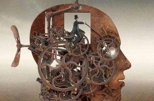 Cervello con meccanismo complesso all'interno