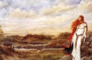 Una donna celta con i capelli rossi