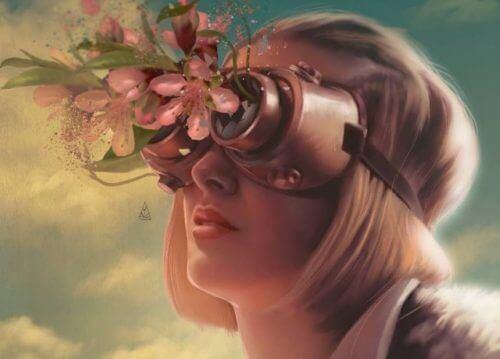 Donna con cannocchiale da cui escono fiori