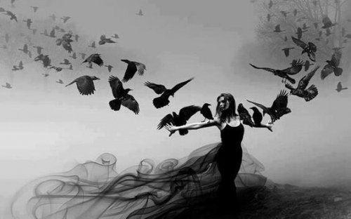 Donna con i corvi