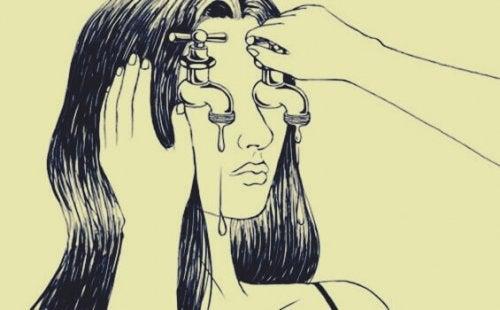 Ragazza con rubinetti a posto degli occhi