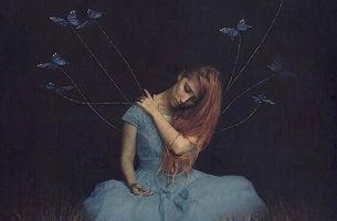 Donna triste alla assenza di una persona cara