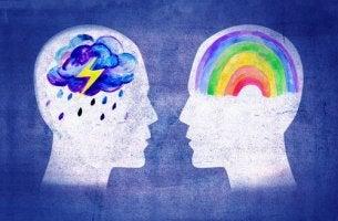 La dispatia persone con arcobaleno e nuvola