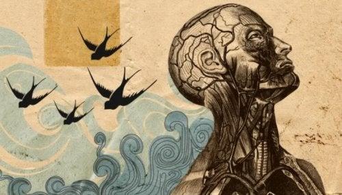 Figura umana con uccelli alle spalle