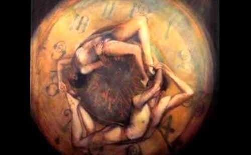 Figure intrecciate in un orologio