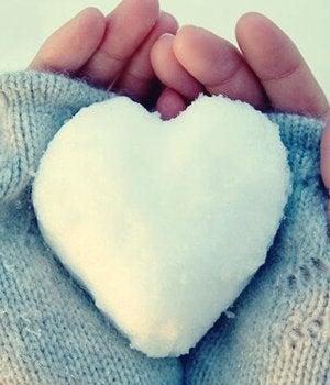 Mani che tengono un cuore di ghiaccio