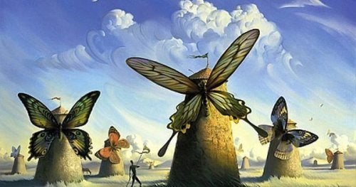 Mulini a vento che al posto delle pale hanno una grande farfalla