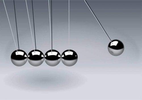 Palle di Newton che rappresentano la teoria del campo di Kurt Lewin