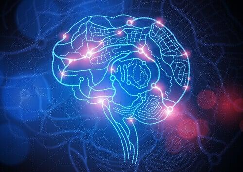 Rappresentazione del cervello con luci