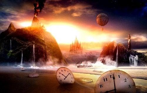 Scenario onirico con orologi