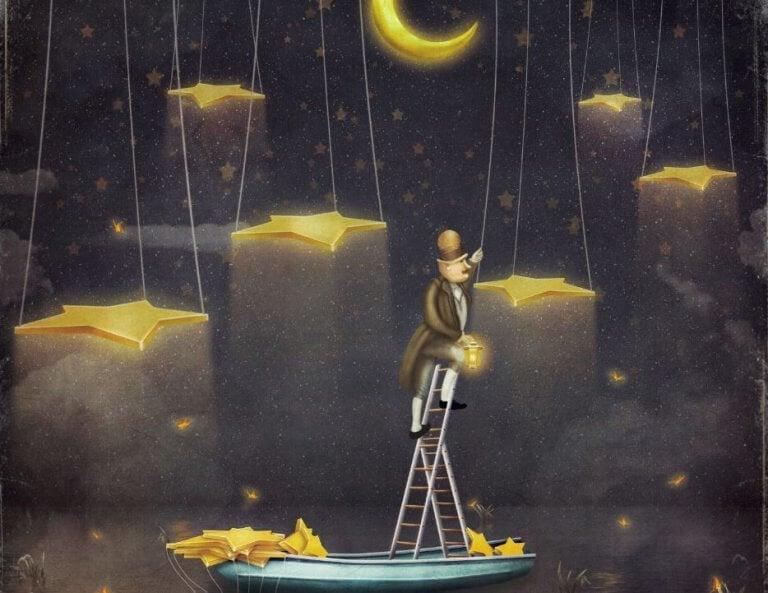 Uomo su una scala per appendere le stelle