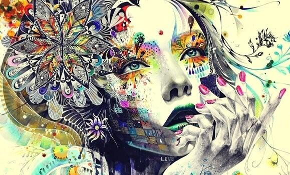 Volto di donna che allena il pensiero divergente