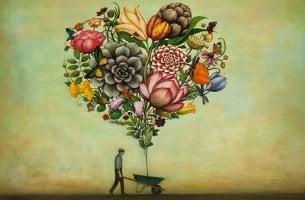 Cuore formato da dei fiori