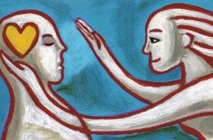 Donna che si avvicina a uomo con cuore in testa tecniche della Gestalt