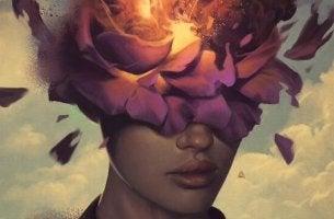 Donna con fiori in testa l'ego