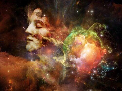 Donna con gli occhi chiusi circondata da colori che rappresentano le onde cerebrali