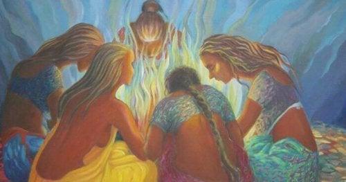 Donne unite davanti ad un falò