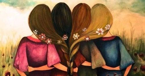 Donne unite attraverso un'unica treccia nei capelli, come simbolo di alleanza e sorellanza