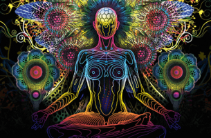 Figura colorata che medita