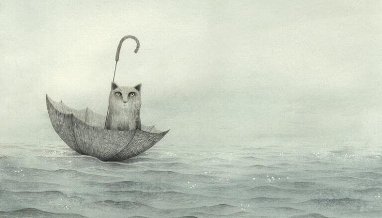 Gatto dentro ombrello aperto nel mare