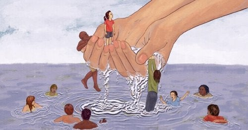 Mani che raccolgono persone dall'acqua, come simbolo dell'eccesso di empatia