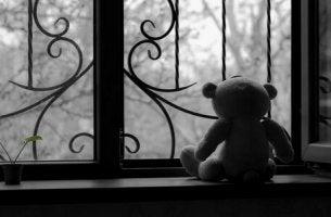 Orsetto che guarda fuori dalla finestra come rappresentazione della terapia del lutto