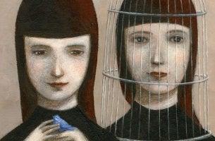 Due sorelle con gabbia famiglie narcisiste