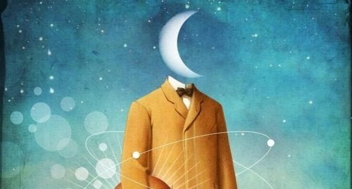 Uomo con la luna al posto della testa