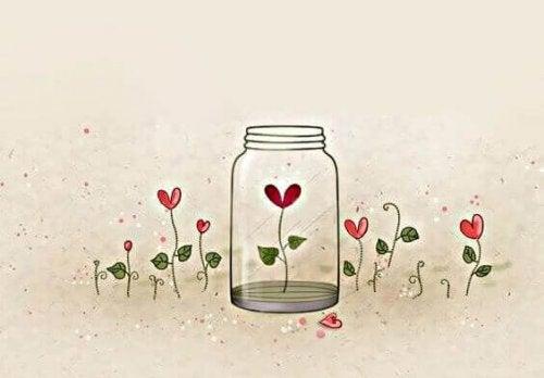 Vaso di vetro con dentro un cuore