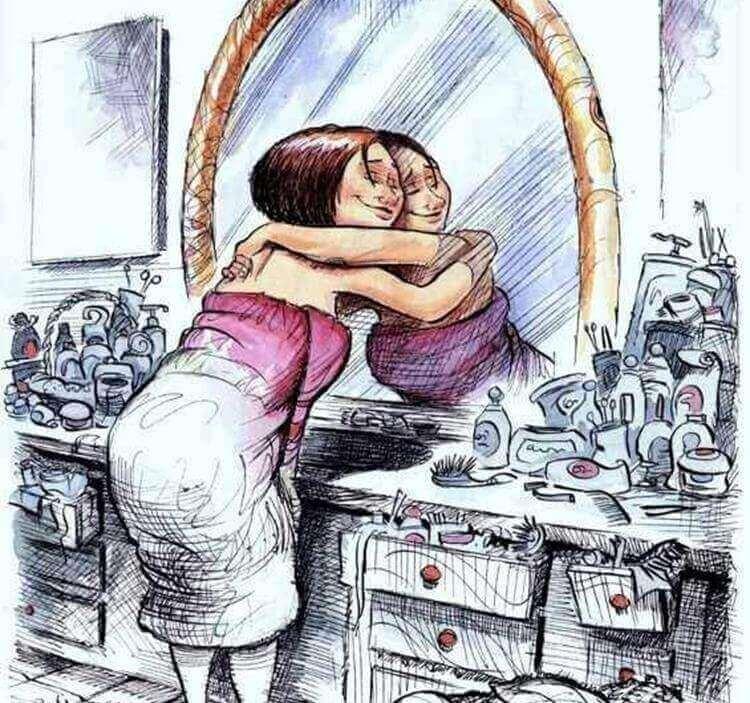 Donna abbraccia il suo riflesso allo specchio