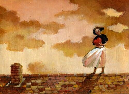 Ragazza abbraccia un cuore su un tetto Innamorati di te stesso