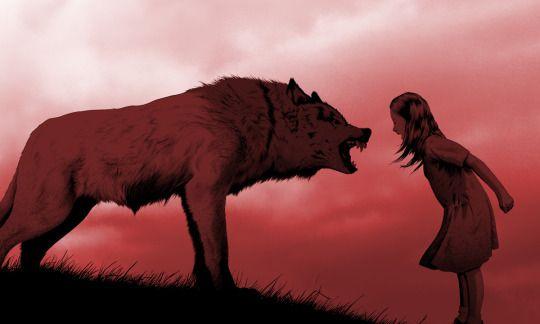 Bambina contro lupo