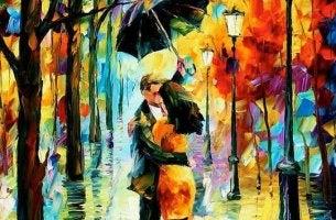 Coppia sotto a un ombrello
