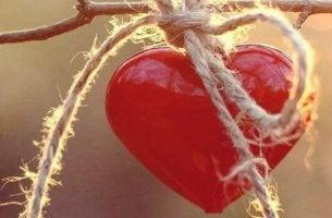 Cuore con una corda simbolo di essere emotivamente forti