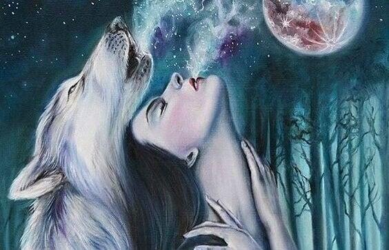 Donna e lupo ululano