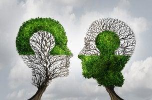 Due teste fatte da alberi filosofia e psicologia