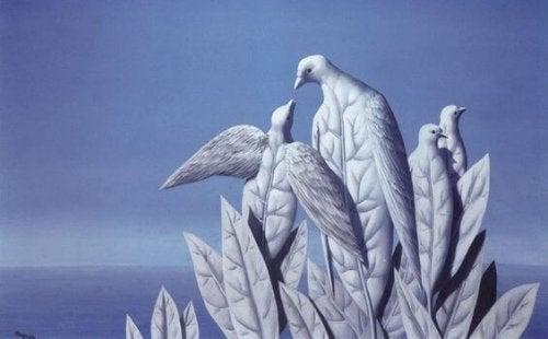 Foglie a forma di colombe che rappresentano le frasi di Jacques Lacan