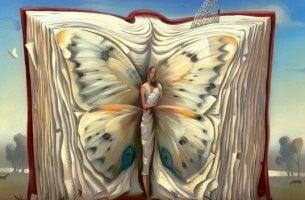 Libro di racconti brevi con farfalla