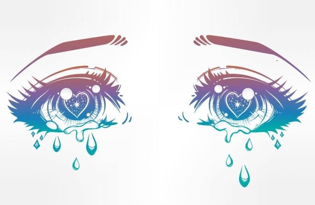 Occhi tristi con lacrime