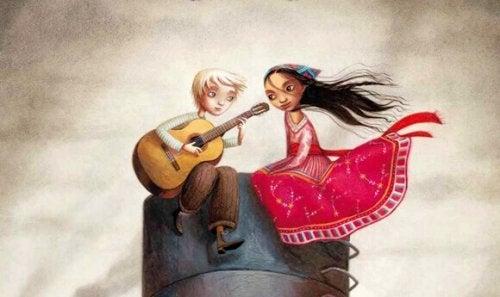 Partner che suona chitarra per la compagna