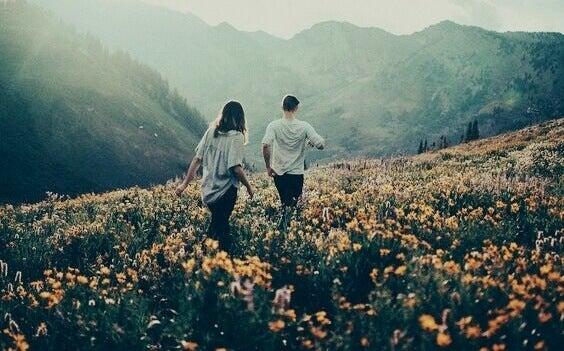 Coppia cammina su campo di fiori
