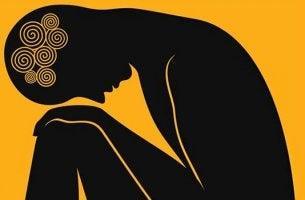 Figura inclinata miti sull'ansia