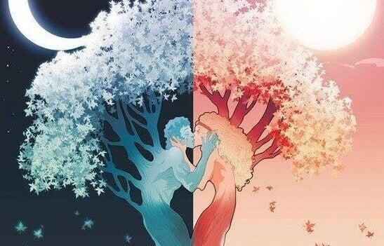 Amore coppia alberi