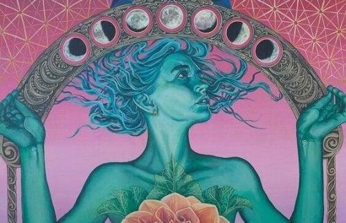 Donna sotto un arco di lune, rappresentazione delle frasi del buddismo per la pace interiore